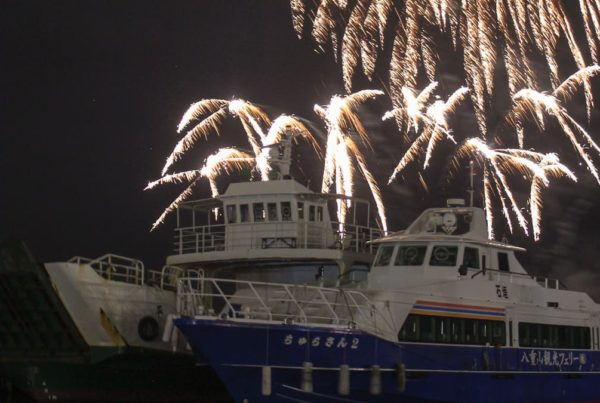 fireworks above two boats